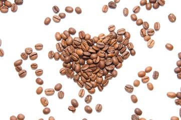 heart made by coffee beans