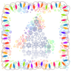 Christmas tree made of snowflakes and electric garland