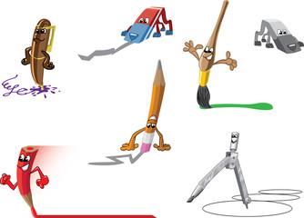 Set of funny cartoon stationery