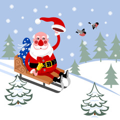 Santa Claus in sleigh rides through woods