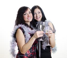 Christmas: two girls congratulates