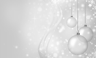 Elegant Christmas card with glass balls on a gray background