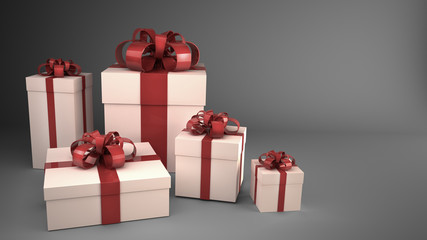 white gift boxes with ribbons and bows 3d