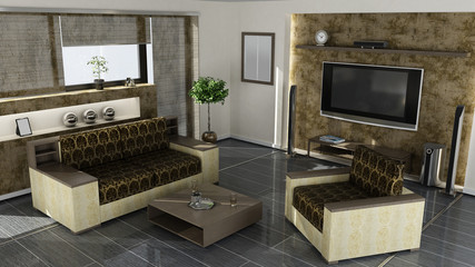 modern home interior 3d rendering.