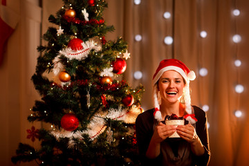 Portrait of smiling woman near Christmas tree with present