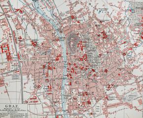 Vintage map of Graz
