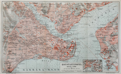 Vintage map of Constantinople