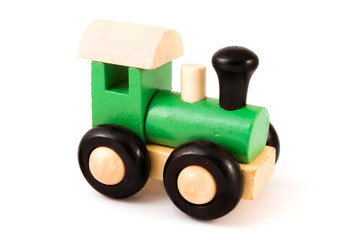 Wooden toy train over white