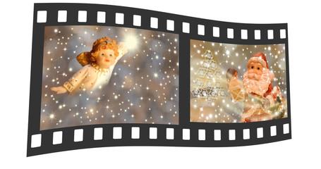 negative film with Christmas photos