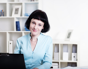business woman in office at work