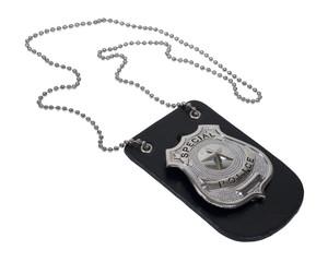 Police Badge on Leather Holder