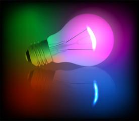 Neon light bulb illustration