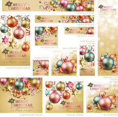 Wall Mural - Collection of Christmas vintage banners