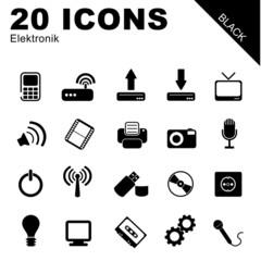 20 Icons Elektronik schwarz