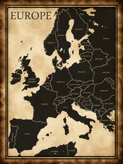 Map of Europe in the old background