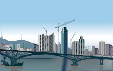 modern bridge and city buildings