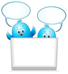 Uccelli Pulcini Blu Cartoon al Pc-Blue Birds Chat Computer