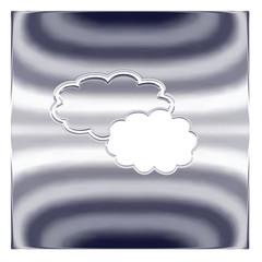 Picto bouton nuage, métal argenté
