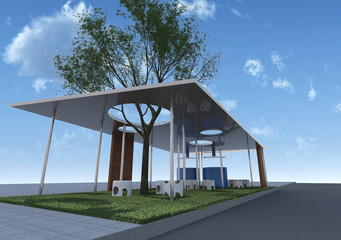 Eco Architecture Rendering with blue sky