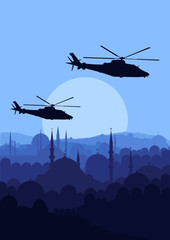Fotorolgordijn Militair Army helicopters flying over Arabic city landscape