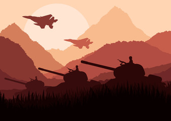 Army tanks and airplanes in mountain landscape