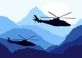 Keuken foto achterwand Militair Army helicopters in mountain landscape background