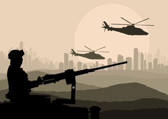 Keuken foto achterwand Militair Army soldier in desert skyscraper city landscape