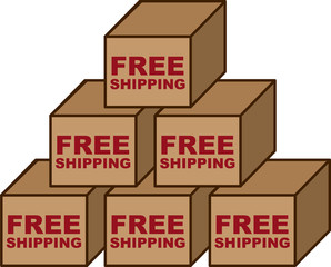 Free shipping boxes stacked in a pyramid