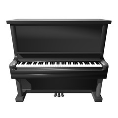 3D Piano icon front view isolated on white background