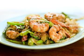 Kale stir fried with prawns
