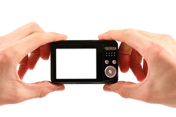 photo camera in hands isolated on white background