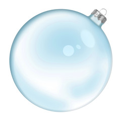 Christmas blue glass transparent ball