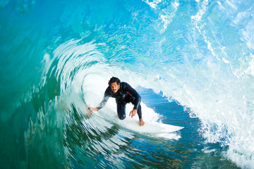 Wall Mural - Surfer in Amazing Blue Barrel