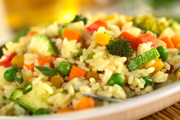 Vegetable risotto made of zucchini, pea, carrot, broccoli