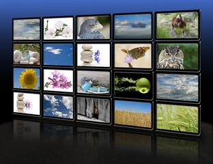 Monitores digitales con imágenes relajantes.