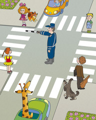 children think, who must first begin to cross the road?