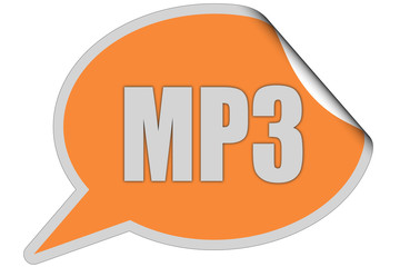 SP-Sticker orange curl oben MP3