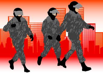 Keuken foto achterwand Militair Police in city