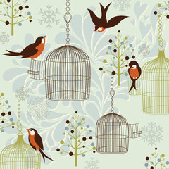 Ingelijste posters Vogels in kooien Winter Birds, Birdcages, Christmas trees and vintage background