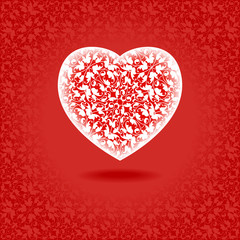 heart floral red
