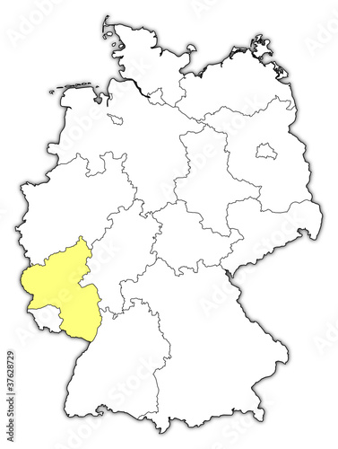 Map Of Germany Rhineland.Map Of Germany Rhineland Palatinate Highlighted Stock Image And