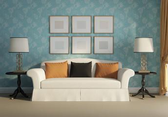 3d Classic, antique, sofa with frames, lights, wallpaper