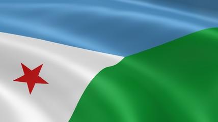 Djiboutian flag in the wind