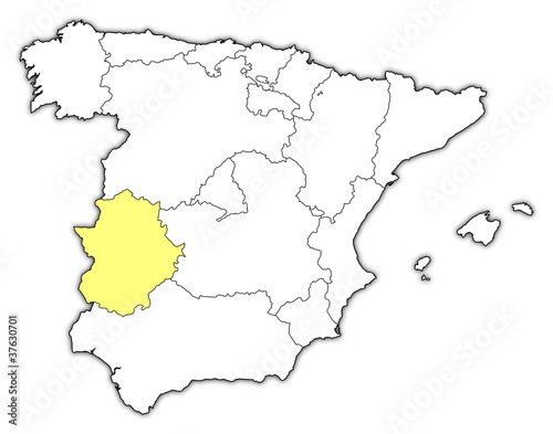 Map Of Spain Extremadura.Map Of Spain Extremadura Highlighted Stock Image And Royalty Free