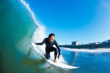 Wall Mural - Surfer on Amazing Blue Ocean Wave