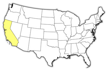 Map of the United States, California highlighted