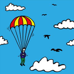 Photo sur Aluminium Ciel Parachute Jump