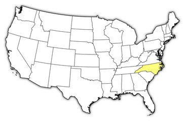 Map of the United States, North Carolina highlighted