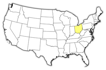 Map of the United States, Ohio highlighted