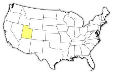 Map of the United States, Utah highlighted
